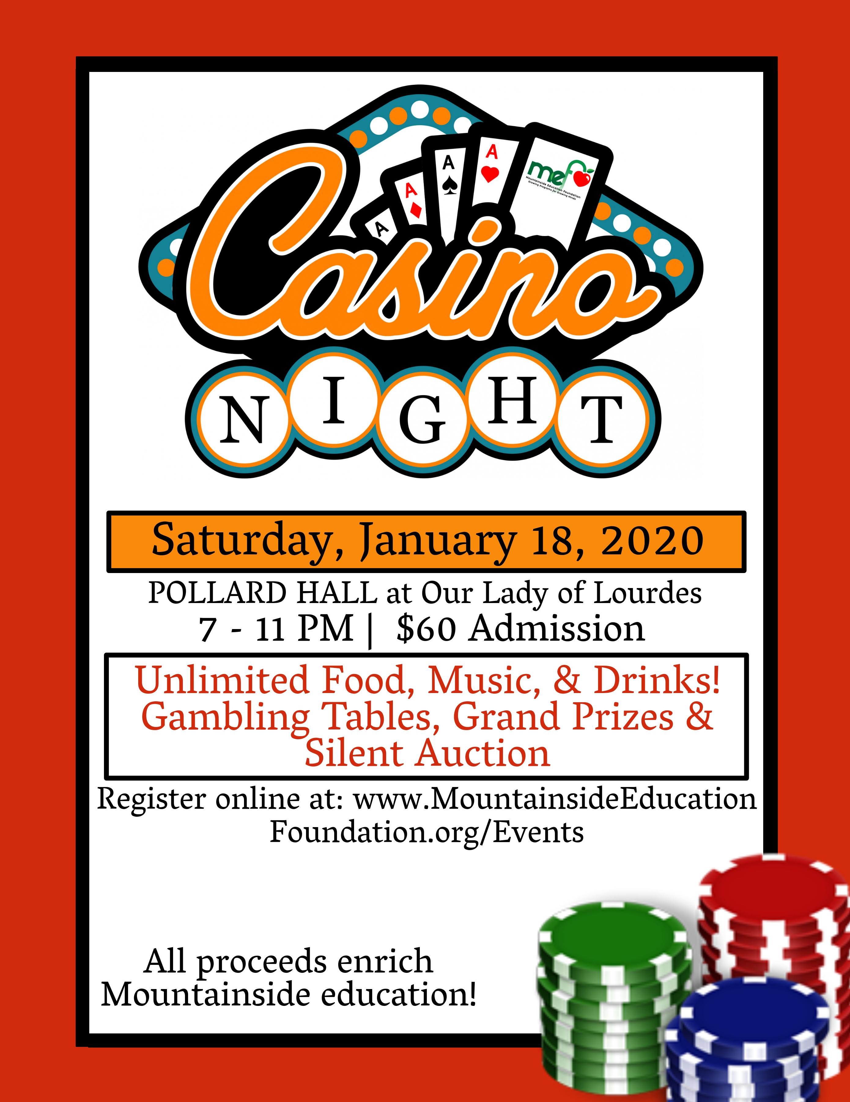 2020 Casino Night flyer
